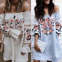 Embroidery Flower Off Shoulder Long Sleeves Short Dress