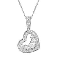 Silver Solitaire Lab diamonds Double Heart Pendant Valentine's Gift