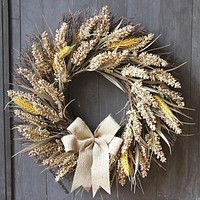 50Cm Simulation Wreath Thanksgiving American Home Furnishing Wreath Wheat Ear Grain Harvest Festival Decoration Rattan Circle