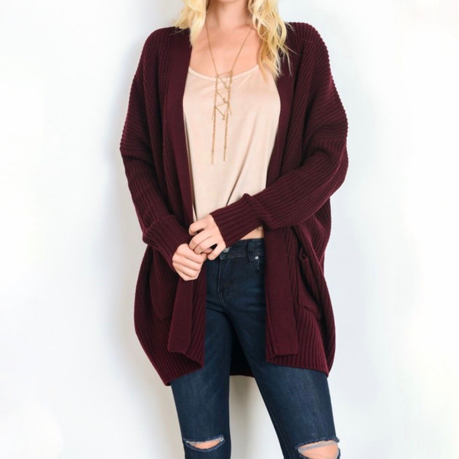 Image of Southern Comfort Open Knit Cardigan in Burgundy