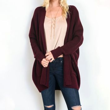 Southern Comfort Open Knit Cardigan in Burgundy