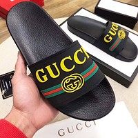 Gucci Slippers Women Men Print Embossing double GG shoes black Yellow green stripe