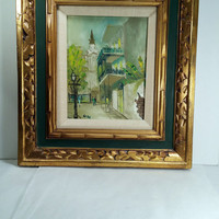 """Framed Oil Painting in Ornate Carved Frame City Scene Mid Century Oil Painting Mexico Tropical Greens 18"""" x 16"""""""