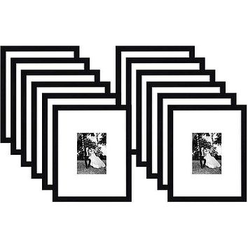 Flag Connections 12 Pack - 11x14 Black Picture Frames - Display Pictures 5x7 with Mats