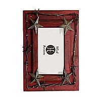 "Cowgirl Kim Red Star & Barb Wire Picture Frame~ 4"" X 6"""