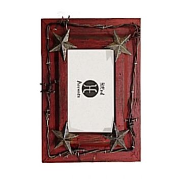 """Cowgirl Kim Red Star & Barb Wire Picture Frame~ 4"""" X 6"""""""