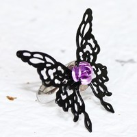 Steampunk Butterfly Ring (Adjustable) - DREAM EATER Black Butterfly Steampunk Ring - Gothic Lolita Ring - Gift for Her