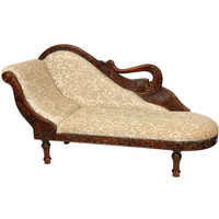Queen Anne Chaise Lounge Black And Gold Damask, Width 81 Inches Oriental Unlimited Cha