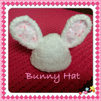 Thick Snuggly Adorable Fluffy Baby Bunny Rabbit hat- for Baby Newborn Infant Crocheted Fuzzy Beanie Cap Photo Prop