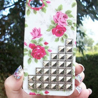 Pink Vintage Rose Silver Dotted Pyramid Studded Matte iPhone 5 5G Phone Case