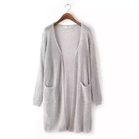 Long Sleeve Patch Pocket Cardigan Sweater