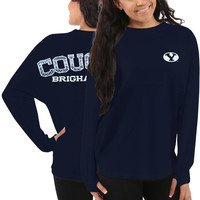 BYU Cougars Women's Aztec Sweeper Long Sleeve Top – Navy Blue