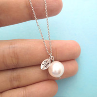 White, 10mm, White, Pearl, Italic, Font, Gold/ Silver, Initial, Personalized, Bridesmaid, Necklace