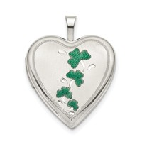Sterling Silver 20mm Green Enamel Clover Heart Locket QLS798