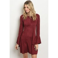 Faux Suede Bell Sleeve Dress
