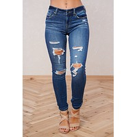 Super Star Distressed Jeans (Dark Wash)