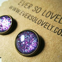 purple periwinkle starry skies - handmade blue violet purple sparkly metallic nickel free post earrings