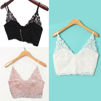 New Sexy Women Lace Tops Crochet Deep V Neck Spaghetti Strap Camisole Fashion Tank Top Bralet G0908|26201 = 1645863364