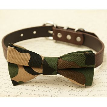 Dog camouflage Bow Tie collar, Pet wedding accessory, Gift