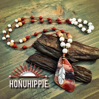 Red Jasper dream catcher feather necklace. Boho hippie jewelry