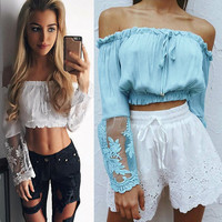 sexy chiffon shirt spring ladies off the shoulder top lace wrap blouse tie in the front crop top transparent flare sleeve T989