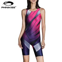Phinikiss Striped Slim Swimsuit Sport Suit for Women Gradient Swimwear Female Pink Blue Bodysuit Monokini Femme Bathing Suit