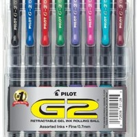 Pilot G2 Retractable Premium Gel Ink Roller Ball Pens, Fine Point, Assorted Colors, 8-Pack (31128)