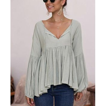 Final Sale - Bohemian Balloon Long Sleeve Relaxed Top in Sage