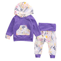 New 2016 fashion  baby Girls clothing set Purple Floral Toddler Kids Baby Girls Hooded Pullover+Pants Outfits 2PCS Clothes Set