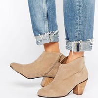 Daisy Street Taupe Western Style Heeled Boots at asos.com