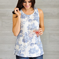 * Angelique Floral Print Tank With Back Cutout - Blue