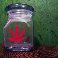 Weed Stash Jar Cannabis Container Medical Marijuana Bong Ganja Hemp Hippy MMJ Colorado California 2.5 inch