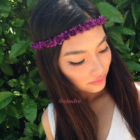 Small Purple Cherry Flower Headband, Flower Crown, Bohemian, Coachella