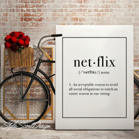Netflix Typography print, Dictionary definition art, dorm decor, coffee print, Wall Art print, Typography Poster