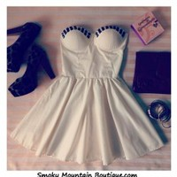 Sexy White Bustier Dress with Studs and with Adjustable Straps - Size XS/S/M - Smoky Mountain Boutique