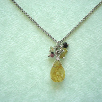 Yellow Tourmaline Stone Antique Silver Necklace.