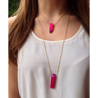 Agate Gemstone Gold Necklace