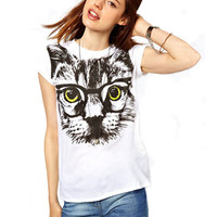 White Cat With Glasses Print T-Shirt