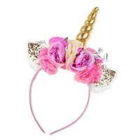 Floral Fall Unicorn Horn Headband Ears Photo Props Girl Birthday Outfit Squishy Cheeks DJ-01