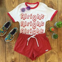 Alright Alright Tumblr Shirts Women Cotton Ringer Tee Red Letter Print Graphic T Shirt Fashion Clothes Tshirt Top Plus Size Tops