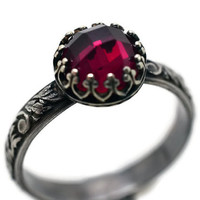 Ruby Engagement Ring, Oxidized Ring, Floral Band, Red Jewel, Blackened Silver Ring