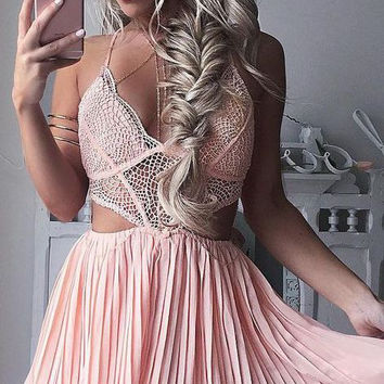 Baby Pink Chiffon Homecoming Dress, V Neck Two Pieces Homecoming Dress 2017