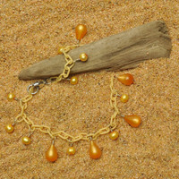 Pale Yellow Anklet with Pearls and Tangerine Drops