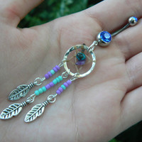turquoise and purple center dreamcatcher belly ring turquoise and amethyst in native american tribal boho belly dancer and hipster style