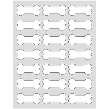 105 Printable Dog Bone Labels, White