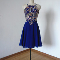 Backless Spaghetti Straps Royal Blue Chiffon Short Homecoming Dress, Prom Dress, Graduation Dress