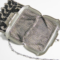 Vintage Art Deco Whiting Davis Enamel Mesh Flapper Purse