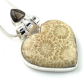 Fossilized Coral & Smoky Quartz Sterling Silver Heart Pendant
