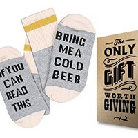 "Comfort Cotton Socks + Gift Box ""If you can read this bring me a cold Beer"""