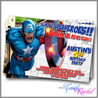 Captain America Comic - Invitation Card Design For Birthday Party Kid